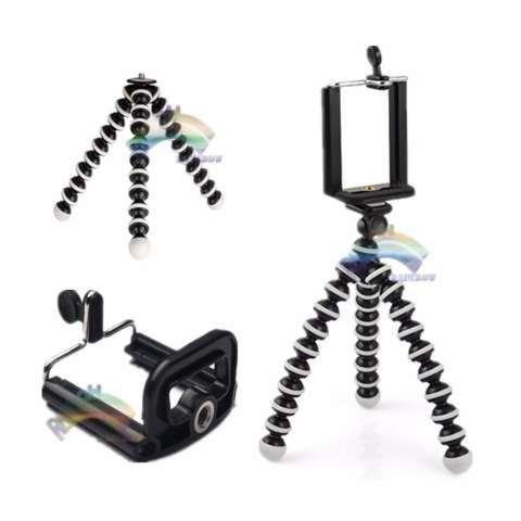 Rainbow Tripod Gurita Mini Spiral Kaki Tiga Untuk Smartphone 6 inch, Webcam, Small Camera / Phone Holder Fleksible - Hitam Putih