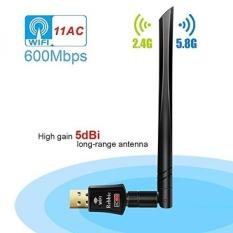 Rebbic Nirkabel USB WIFI Adaptor 600 Mbps Dual Band 2.4G/5g WiFi Dongle Kartu Jaringan dengan 5dBi Antena untuk Desktop Laptop Win XP/7/8/10, Mac OS X 10.4-10.14.1-Intl