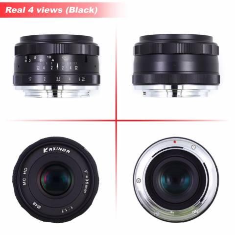 Roolad Kaxinda 35 Mm F/1.7 Bukaan Apertur Manual Fokus Lensa untuk Olympus M43 Panasonic Xiaoyi Digital Mirrorless Kamera em EP PL GX Hitam Perak-Internasional 2
