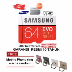 Samsung Memory Card MicroSDHC Evo Plus 64GB / 100MB/s with Adapter - Merah + iRing Mobile Phone