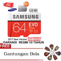 Samsung Memory Card microSDHC Evo Plus U3 K4 64GB/100MB/s with Adapter - Merah + Gantungan Bola Random