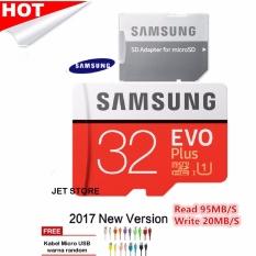 Samsung MicroSDHC 32GB 95MB/s Evo Plus UHS-I Card - Merah + Kabel Micro USB warna Random