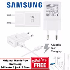 Samsung Travel Charger 15W Fast Charging for All Samsung Galaxy + GRATIS Original Handsfree Samsung S6/Note 5 - Putih