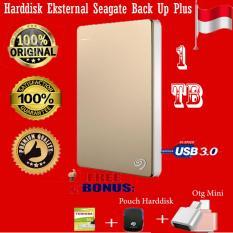Seagate Backup Plus Slim 1TB - HDD - HD - Hardisk External 2.5 - Gold + Gratis  Flashdisk 16Gb Toshiba 2.0 + Pouch Harddisk + Otg Mini Reader