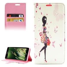 Shopping Girl Pola Berlian Bertatahkan Case Kulit Horisontal Flip dengan Pemegang dan Slot Kartu dan Dompet untuk Microsoft Lumia 850 -Intl
