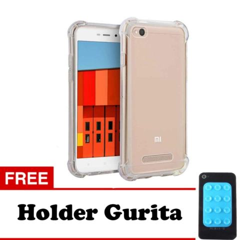 Softcase Anti Shock Anti Crack For Xiaomi Redmi 4A Aircase - Putih Transparant + Free Holder