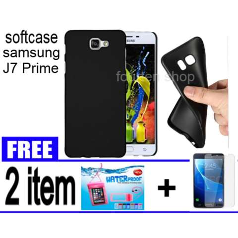 Softcase Black Matte For Samsung Galaxy J7 Prime + FREE Waterproof + Tempered Glass For Samsung