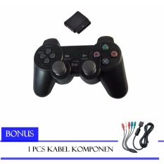 Sony Stick PlayStation 2 Wireless PS2 Controller (Black) free Kabel Komponen Spirit