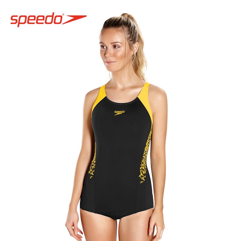 Speedo Baju Renang Petinju Terusan Perjalanan Baju Renang Kasual Wanita (Hitam/panas kuning)