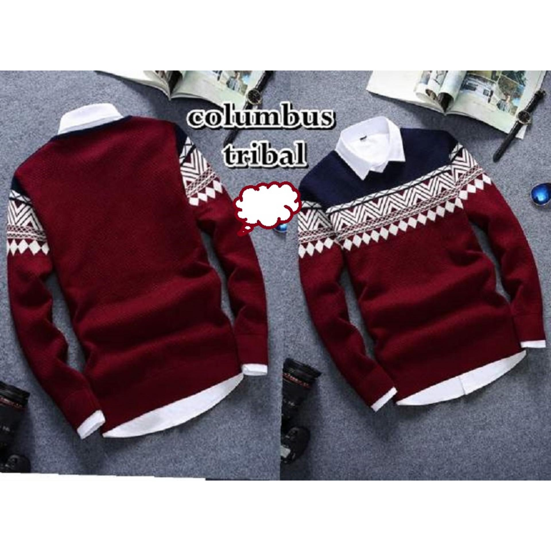 Sweater Pria Columbus Tribal Good Quality - Maroon
