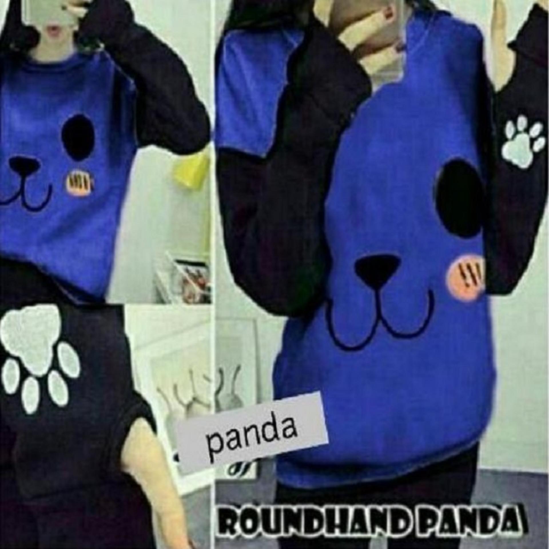 Sweater Wanita Roundhand Panda Good Quality - Biru