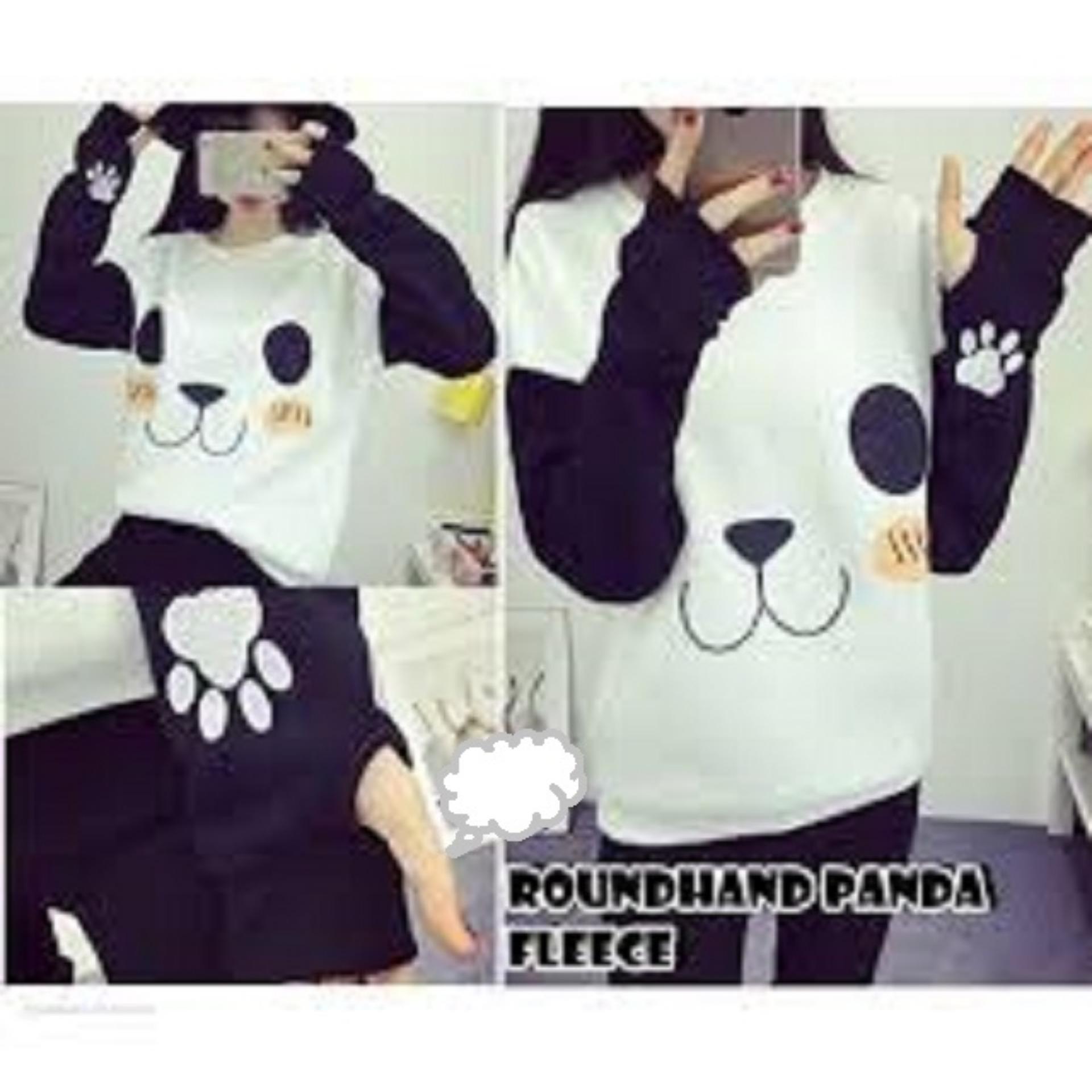 Sweater Wanita Roundhand Panda Good Quality - Putih