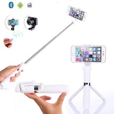 TabPow Selfie Stick Tripod With Detachable Bluetooth 3.0 Remote Shutter, Pocket Size, Extendable Aluminum Rod For iPhone 8/8+/7/7P/6/6P/SE, Galaxy S5/S6/S7/S8, LG, HTC, Moto, Huawei & More - White - intl
