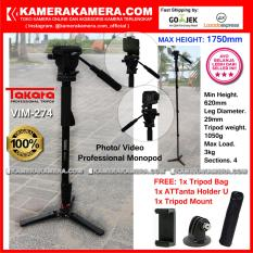 TAKARA VIM-274 Photo / Video Professional Monopod VIM 274 Max Height 1750mm Free Bag + ATTanta Holder U + Tripod Mount for DSLR Mirrorless Camera Canon Nikon Sony Fujifilm Panasonic and Action Camera GoPro Brica Xiaomi Yi and SmartPhone iPhone Samsung
