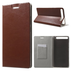 Textured Card Holder Leather Stand Case for Lenovo Phab Plus (Brown) - intl