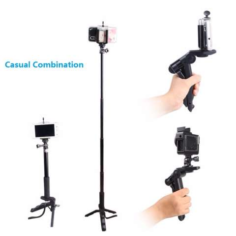 TiFo 2 In 1 Mini Portable Folding Tripod Stand Handheld Grip Mobile Phones Or Action Camera