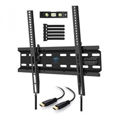 Tilting TV Wall Mount Bracket Low Profile for Most 23-55 Inch LED, LCD, OLED, Plasma Flat Screen TVs with VESA up to 88lbs 400x400mm - Bonus HDMI Cable, Bubble Level and Cable Ties by PERLESMITH - intl