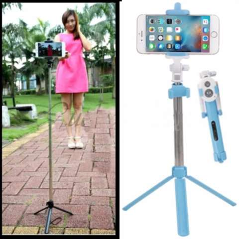 Tongsis Tripod Remote Bluetooth Shutter 3 in 1 - Biru
