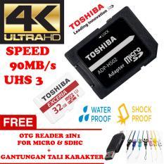 TOSHIBA Micro SD Card With Adapter 32GB Class10 UHS-3 90MB/S, Micro SD 32GB memory card 1080p full-HD 3D 4K Video Card + Gratis Reader 2in1 for Micro & Sdhc + Gantungan Tali Karakter Lucu