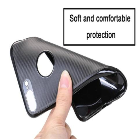 TPU Carbon Case Black Only for Samsung S7 Edge Softcase TPU - Hitam 1