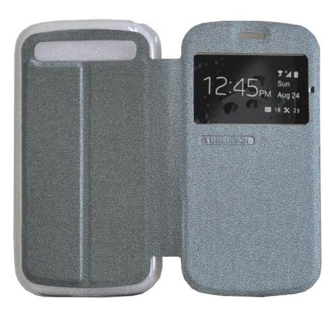 TUNEDESIGN FolioAir Leathercase Blackberry Q20 - Grey/Abu-abu Book Cover Book Case Flip