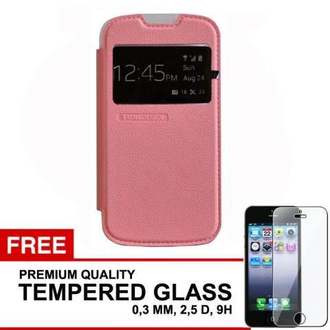 TUNEDESIGN FolioAir Leathercase Samsung Galaxy V/V+ - Pink/Merah Muda Book Cover Book