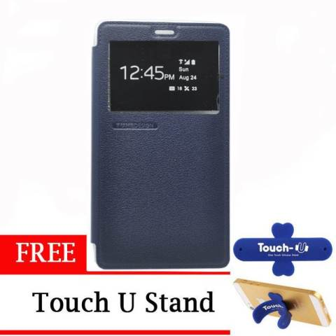 TUNEDESIGN FolioAir Leathercase Xiaomi Redmi Note - Navy/Biru Dongker Book Cover Book Case Flip
