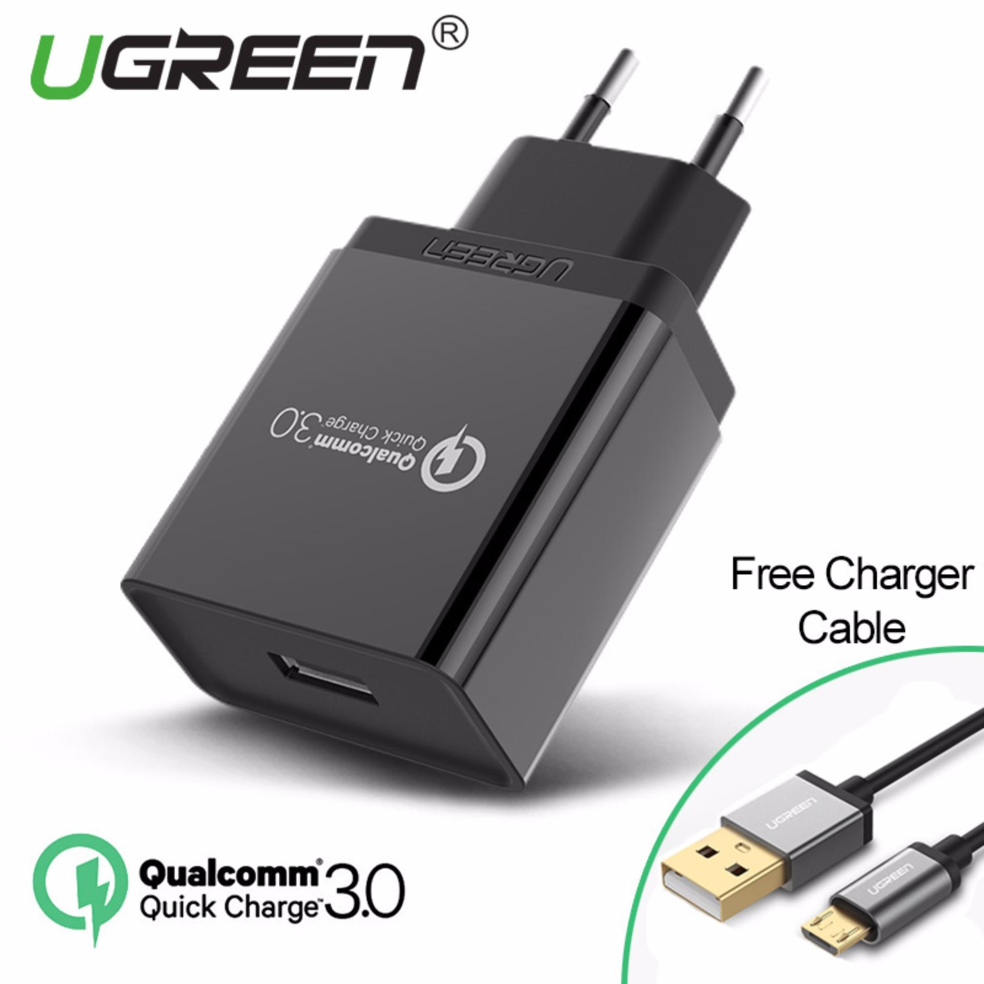 UGREEN 1Meter Quick Charger for Xiaomi Redmi Samsung Handphone HP USB 3.0 Charger 18W Fast Mobile Phone Charger Black + Free 1 Meter Micro USB Cable