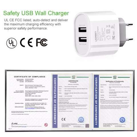 UGREEN 5 V 3,4 Amp Charger Dinding USB Ganda dengan Gratis 1 M Tipe