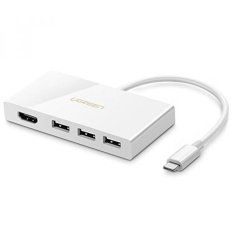 UGREEN USB C Adaptor USB 3.1 TYPE C untuk HDMI Adapter 4 K + 3D dengan 3 Port 5 Gbps Kecepatan Tinggi USB 3.1 TYPE C HUB untuk MacBook Baru, MacBook Pro, Chromebook Pixel, Dell XPS, MateBook dan Lainnya USB C Laptop-Intl