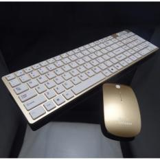Ultra Slim Silent Nirkabel 2.4 GHz Mini Keyboard dan Mouse Set dengan USB Bluetooth Receiver untuk PC Laptop Android Smart TV -Intl