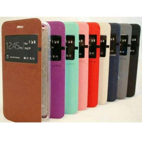 Ume Flip Cover Samsung Galaxy E5 Biru Tua / Leather Case Samsung E5 View / Flipcover