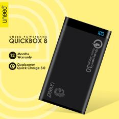 UNEED PowerBank 8000mah Qualcomm Quick Charge 3.0 QuickBox Dual USB Port Real Capacity - Original - Hitam