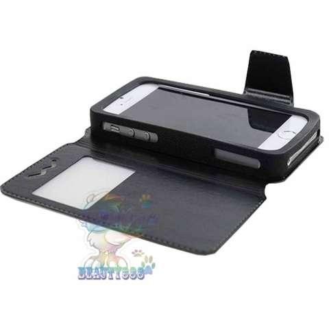 Universal Leather Case Windows For All Smartphone Ukuran 4.5 Inch - 4.9 Inch Slide Up Case