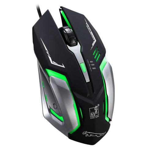 USB kabel optik Mouse Gaming 1600DPI disesuaikan dengan cahaya LED warna- warni (hitam)