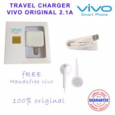 Vivo Travel Charger Adapter 2A With Cable Original - Putih + Headset VIVO XE100 Deep bass Sound system in-ear earphone with mic - putih