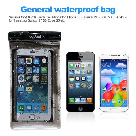 VODOOL Umum Case Tahan Air Tas Tahan Terhadap Udara With IPX8 Besar Ukuran 17.27 Cm Cocok untuk IPhone 7 6 S Plus 6 S 6 5 S 5 5C 4 S 4, untuk Samsung Galaxy S7 S6 Edge S5 6