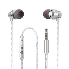 Wired Earphone Earbud Di Telinga Headphone Mikrofon Bass Stereo Olahraga Menjalankan Headphone Mengisolasi Kebisingan dengan MIC untuk IPhone IPad Android HTC Mp3 Mp4 Player Tablet 3.5mm Audio Jack Silver Putih-Intl