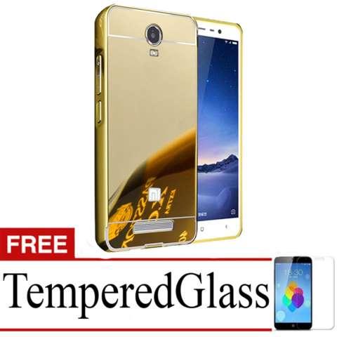 ... Home X Case Mirror Aluminium Bumper For Xiaomi Redmi Note 2 Free Tempered Glass