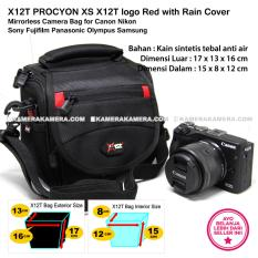 X12T PROCYON XS X12T logo Red with Rain Cover Mirrorless Camera Bag for Canon Nikon Sony Fujifilm Panasonic Olympus Samsung