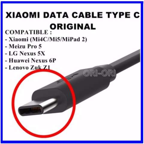 Xiaomi Kabel Data Type C for Mi 4C / Mi 5 / Mi Pad 2 -