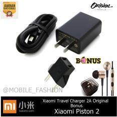 Xiaomi Travel Charger 2A Fast Charge Original + GRATIS Handsfree Xiaomi Piston 2nd Gen - Hitam