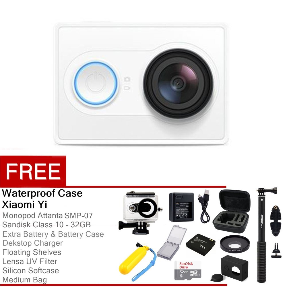 Complete Package Xiaomi Yi Action Camera - 16 MP - Putih + Gratis Complete Package
