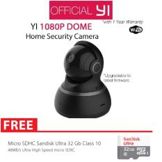 Xiaomi Yi Dome Home 360 View Camera CCTV HD 1080P International Version + Micro SD Sandisk 32GB Class 10 - Hitam
