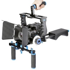 YELANGU YLG1103A-A Steadicam Pegangan Ganda Camera Shoulder Mount + Kamera Cage Stabilizer Kit dengan Matte Box untuk Kamera DSLR/ Video Camera-Intl
