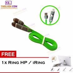 Yumoto Kabel Data Multifungsi 2 IN 1 - Iphone 5 & Android / Microusb to Lightning - Hijau + Free Iring / Ring Stand