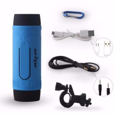 Zealot Bluetooth Speaker Waterproof dengan Powerbank 4000mAh & Senter - Blue