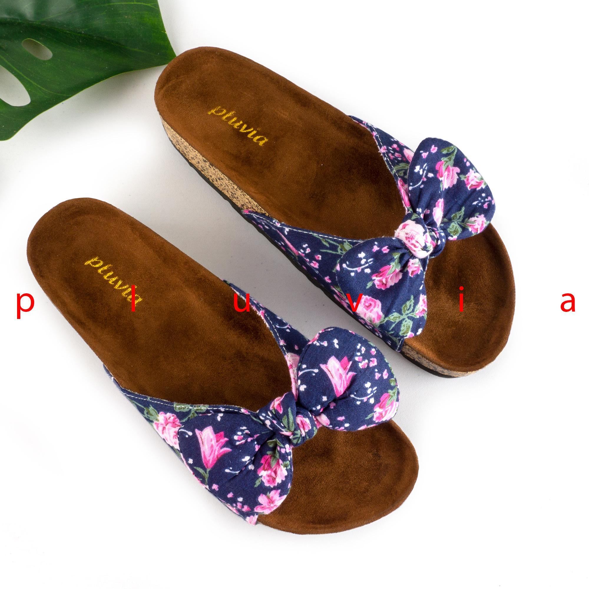 Pluvia - LOLA Sandal Wanita Sendal Flat Footbed - Hitam   Navy   Pink 458ec0083a