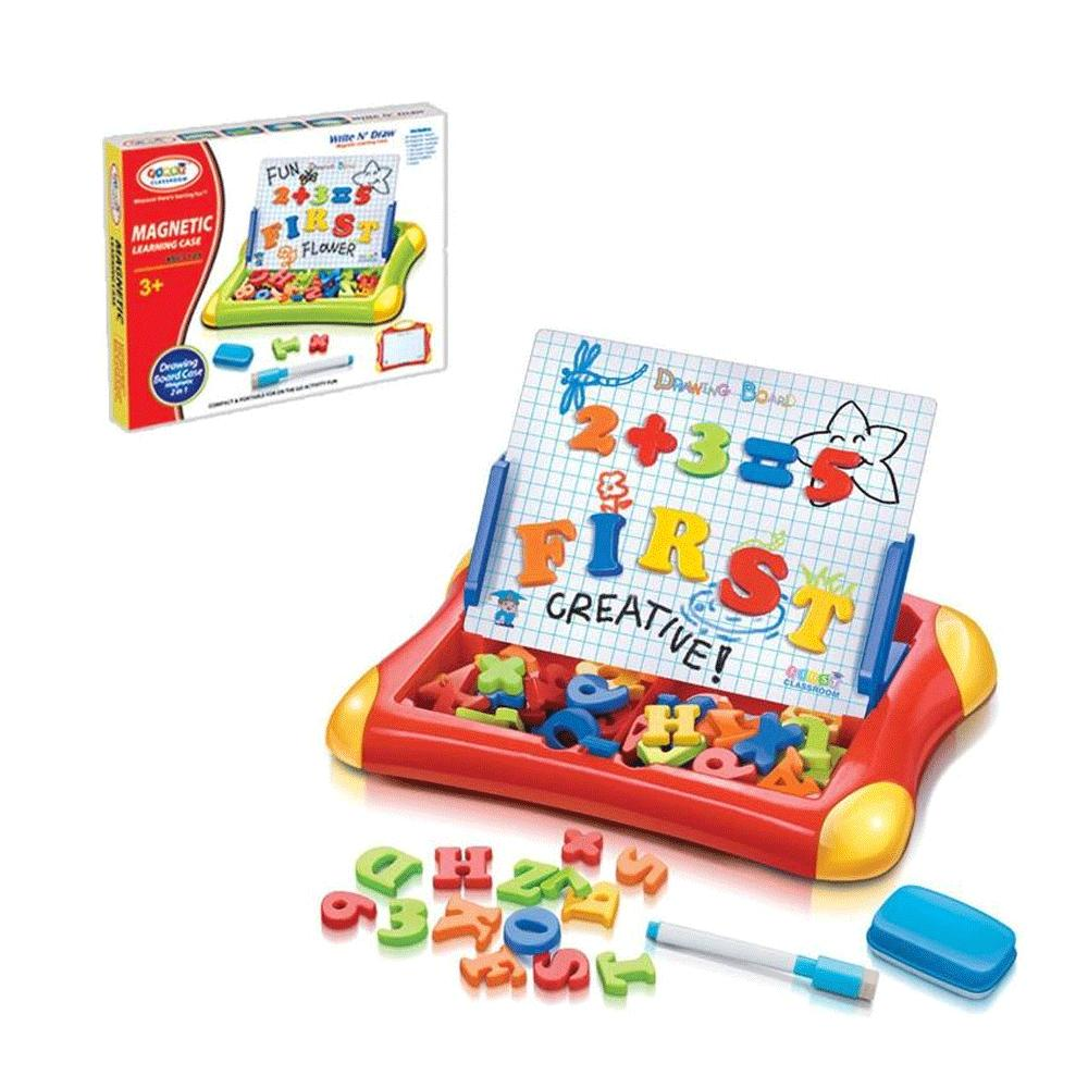 MOMO TOYS Mainan Anak First Classroom Magnetic Learning Case ABC+123 - Drawing Board Case