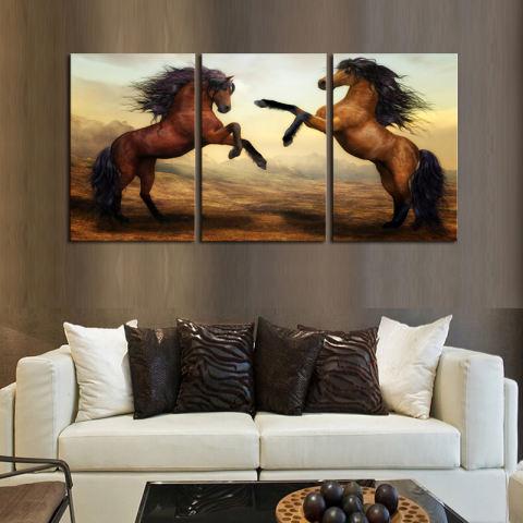 3 Panel Dua Kuda Lukisan Kanvas Berkualitas Tinggi Art Gambar Unframed Hadiah Lukisan Dinding Seni Dekorasi Kamar Tidur Kamar Tidur (intl) 2
